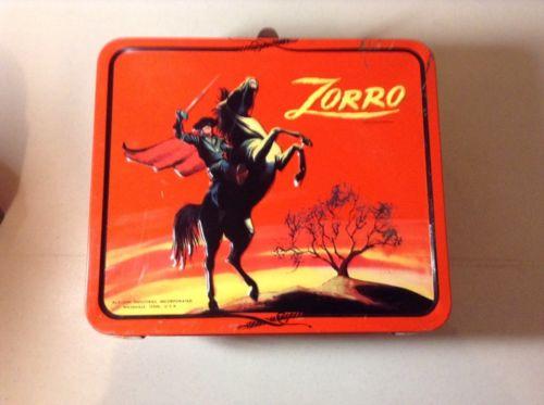 Vintage Zorro Lunch Box - Metal, Tin - Aladdin Brand - Collectors - Red