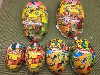 Lot 6 Vintage East & West Germany Paper Mache Easter Candy Eggs Containers