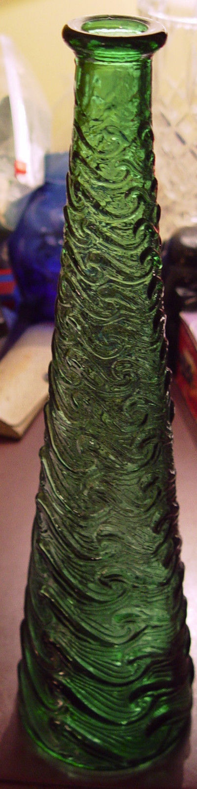 Tall Decorative Green Bottle / Vase 15 ½ Inches
