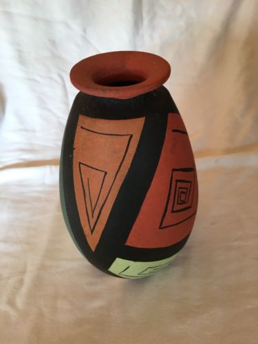 African style black and tan vase pot CLAY