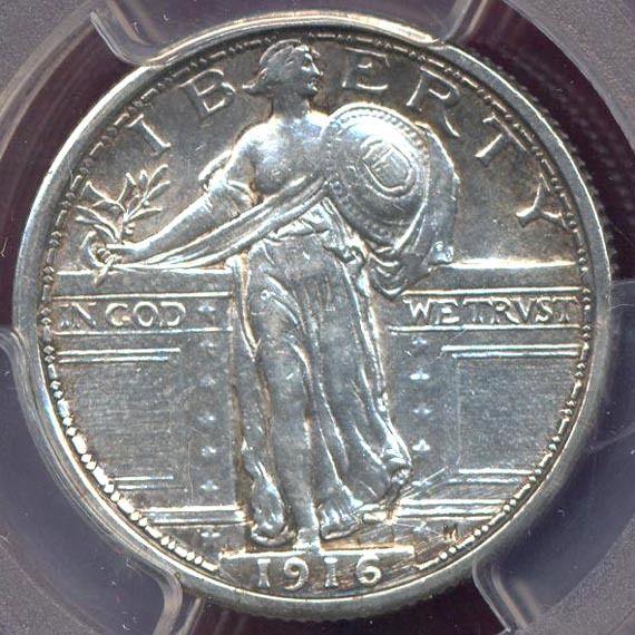 1916 STANDING LIBERTY 25c  PCGS AU DETAILS