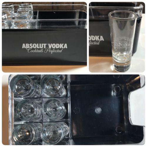 Absolut Vodka Bar Caddy Napkin Holder W/ 6 Shot Glasses
