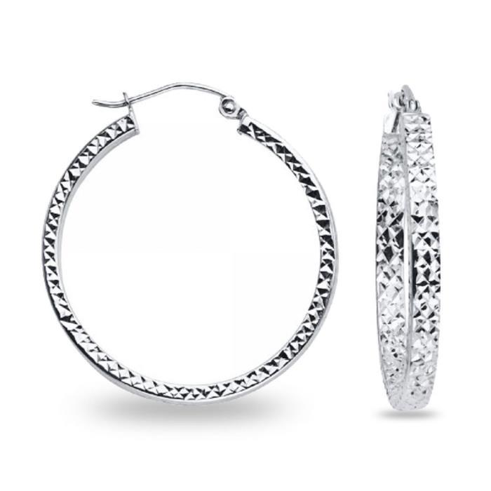14k White Gold Round Hoop Earrings Square Tube Hollow Diamond Cut Genuine Fancy