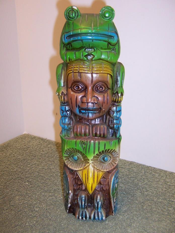 VINTAGE TOTEM POLE COIN BANK 11.5
