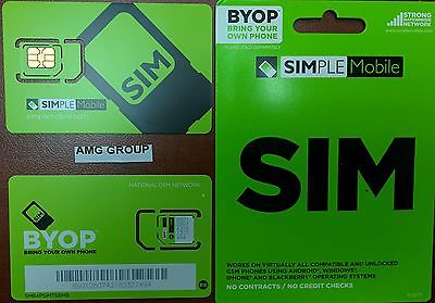 Simple Mobile MICRO/REG Sim Card Prepaid TMOBILE NETWORK.