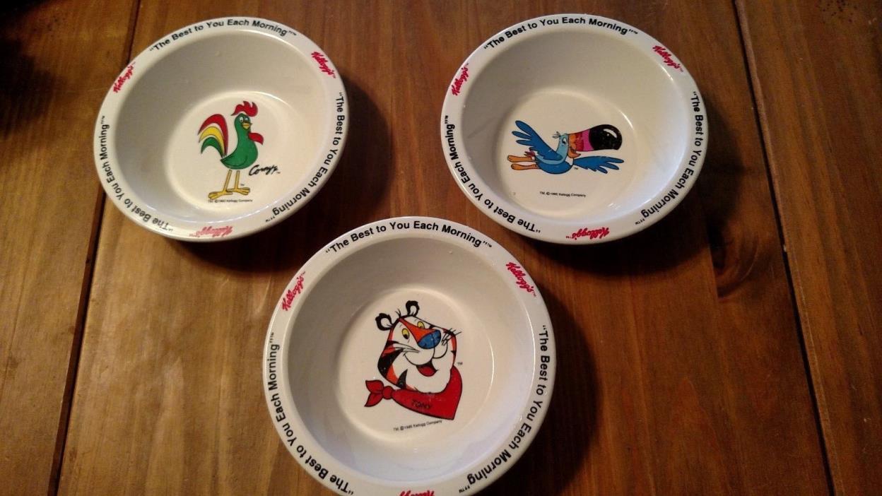 Retro plastic Kellogg's Cereal Bowls set of 3