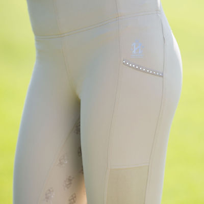 Horze Leah Full Seat Silicone Tights UPF 50+  Tan size 26