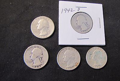 Lot of 5 Washington Silver Quarters - 1942, 1942-D, 1943, 1962, 1964