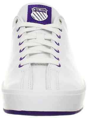 K-SWISS 92874-111 CLEAN CLASSIC WMN's (M) White/Purple Leather Lifestyle Shoes