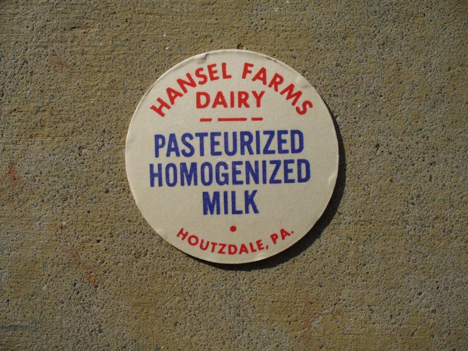 New Old Stock Hansel Farms Dairy Milk Bottle Cap Houtzdale Pa Clearfield County