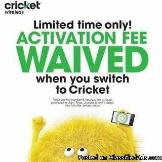 SWITCH TO CRICKET WIRELESS TODAY TO GET A FREE PHONE & FREE ACTIVATION!!!