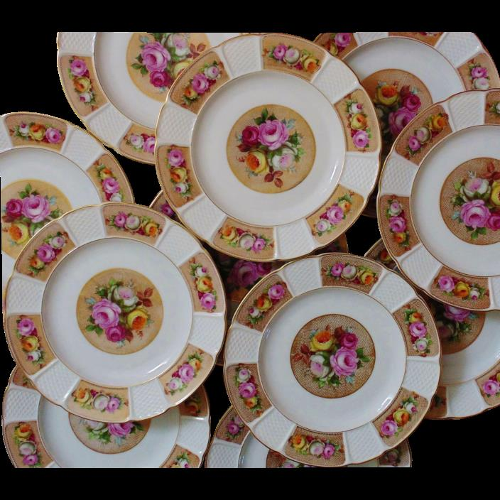 Set of 12 Rosenthal Bavaria Luncheon Cabinet Plates w/ Roses Fine China