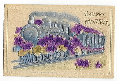 POSTCARD  - VINTAGE NEW YEAR - WOOD EMBOSSED VELVETY - TRAIN - LOCOMOTIVE