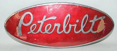 VINTAGE RED ENAMEL PETERBILT AUTOMOBILE TRUCK GRILL BADGE PLAQUE ~123