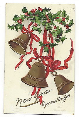 POSTCARD - VINTAGE NEW YEAR 1909 EMBOSSED - ARTIST SIGNED - ELLEN H. CLAPSADDLE