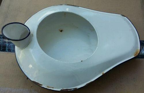 1940's White Enamel-Ware Porcelain Bed Pan Chamber Pot
