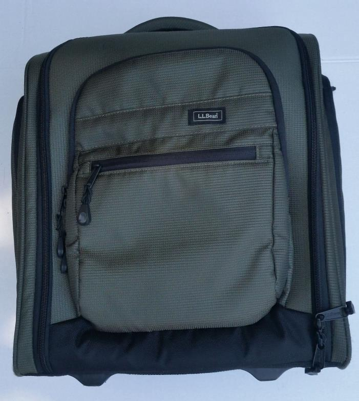 LL BEAN - TRAVELLER'S BAG ROLLING CARRY ON UNDER SEAT LUGGAGE- OLIVE GREEN