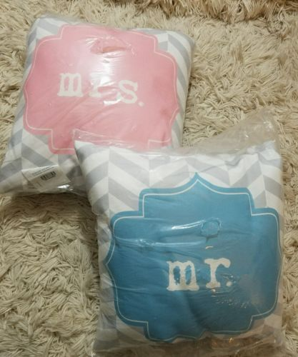 NEW Mr Mrs Wedding Gift Chrevron Stripe Decorative Pillows Pink Blue 16 x 16