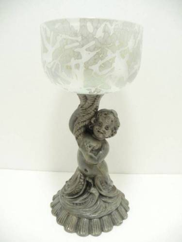 VINTAGE Cherub Mermaid Figural CASED ART GLASS Compote Dish