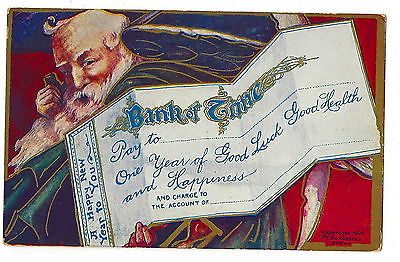 POSTCARD  - VINTAGE NEW YEAR- c. 1908 - EMBOSSED - FATHER TIME - BANK CHECK