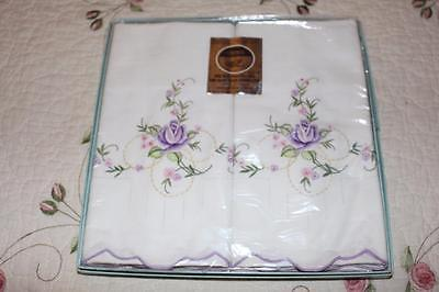 Vintage Pillow Cases by Heritage with Needle Work Very Nice