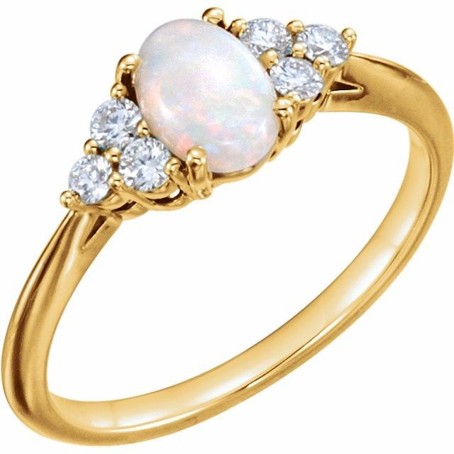Opal Ring w/Diamonds & Leaf Earrings 10 kt Gold