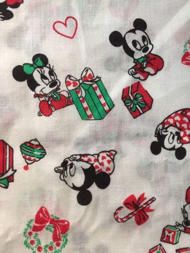 Vintage Disney Baby Mickey Minnie Mouse Christmas 1 Yard Peter Pan Fabrics 1984