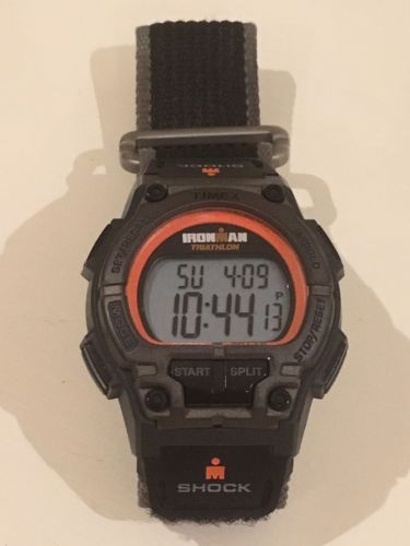 Timex Ironman Shock 30-lap Sport Watch Orange/black/grey Velcro - Excellent