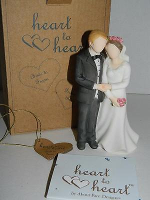 Bride Groom Porcelain Figurine Wedding Cake Topper Heart to Heart Collectible