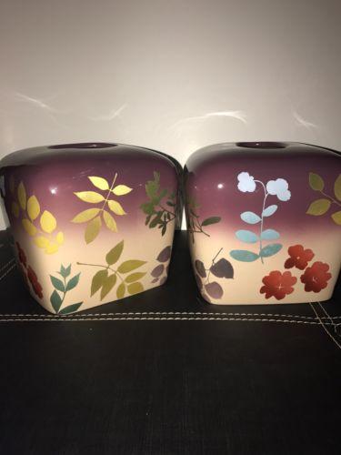 Set Of Purple Floral Ceramic Tissue Box Holders