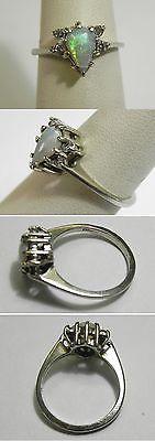 C531 Vintage 14K White Gold Ladies Opal & Diamond Ring, Sz 7