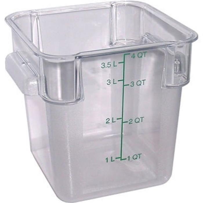 CARLISLE 1072107 StorPlus Square Container,4 qt.,PK 4