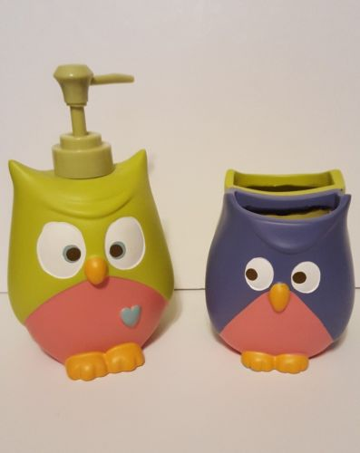 MAINSTAYS WHOOTY HOOT OWL??TOOTHBRUSH HOLDER & LOTION/SOAP DISPENSER ~ NEW