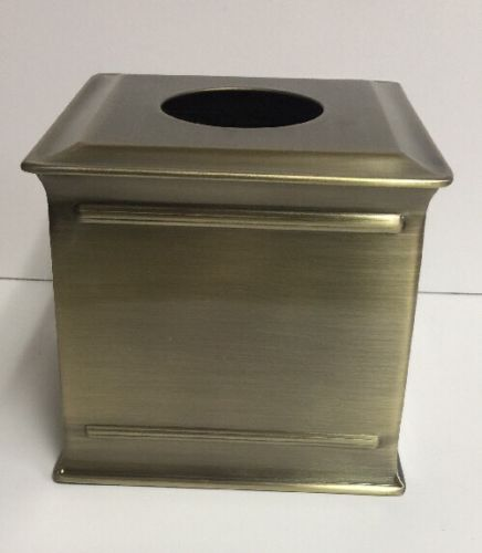 Antique Brass Collection 6 in. Tissue Box Holder in Brushed Brass