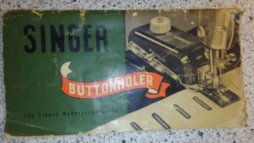Vintage 1948 Singer Buttonholer No. 160506 Manual Instruction Book - 30 Pages