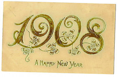 POSTCARD  - VINTAGE NEW YEAR - EMBOSSED -