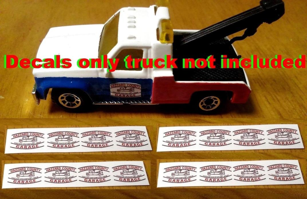 Hot Wheels Matchbox Cooter's Tow Truck WATER DECALS 8 Sets Dukes Of Hazzard 1/64
