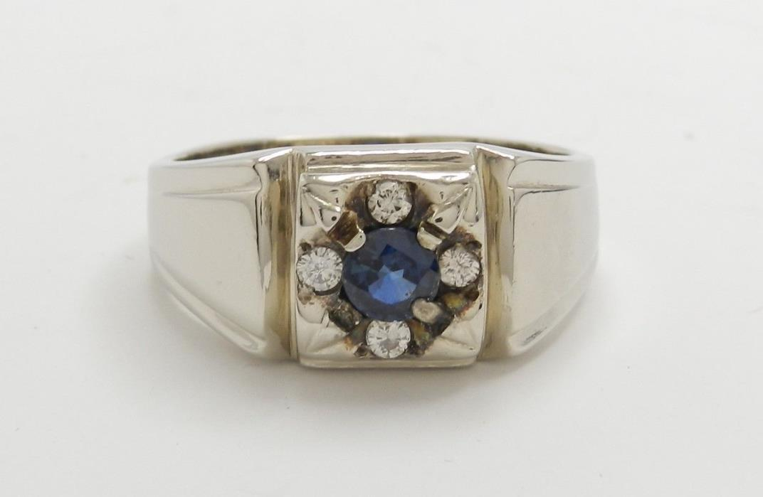 1950's VINTAGE .66 CTW BLUE SAPPHIRE & DIAMOND 14KT WHITE GOLD RING