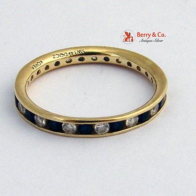 Eternity Ring Diamonds Sapphires 14 K Yellow Gold