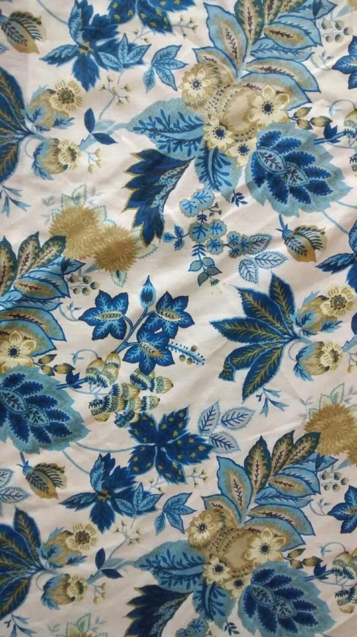 Vintage Linen Fabric Blue Floral