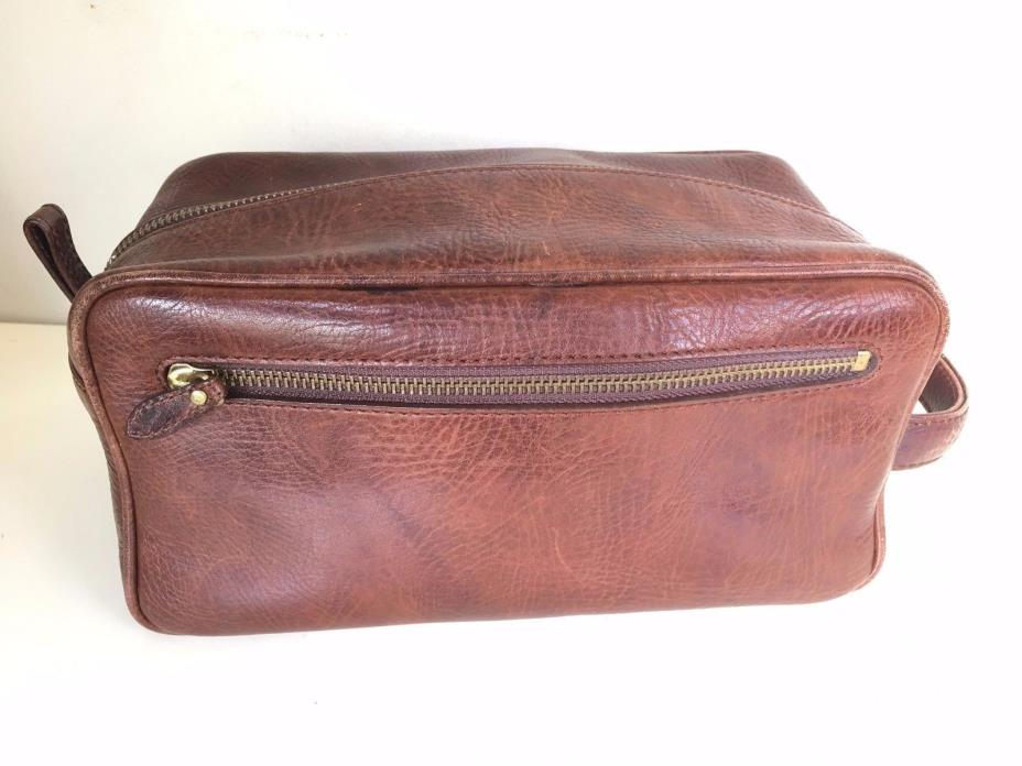 POLO RALPH LAUREN Men's Leather Toiletry Shave Kit Bag Travel Case Bag Brown