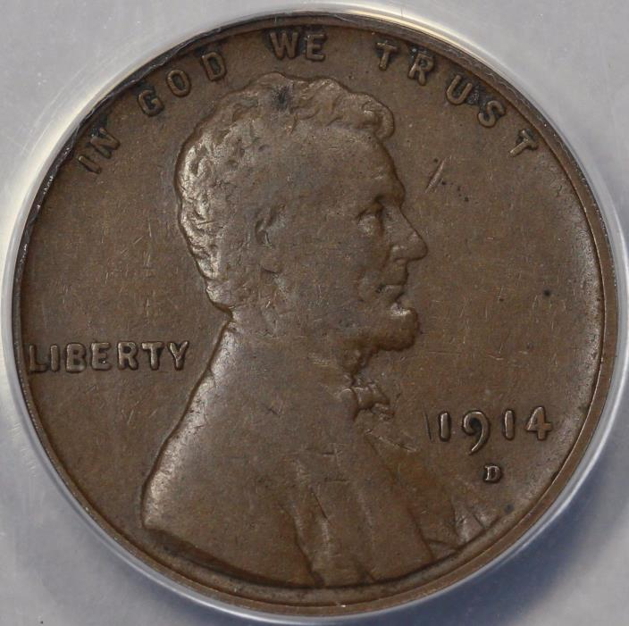 1914-D 1C Lincoln Cent ANACS VF 25