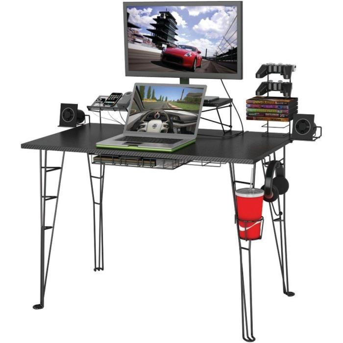 Atlantic Gaming Desk - Fits 27in Monitor - Charging Station Speaker Trays