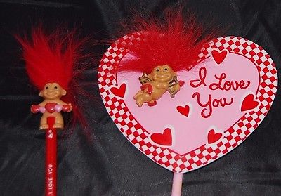 Valentine troll Pencil topper &Troll valentine Wand-cupid troll 14 inches-total