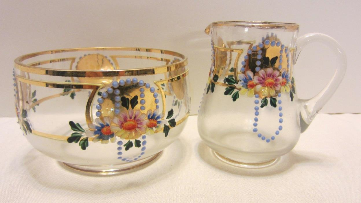 Czechoslovakia Small Glass Creamer & Bowl Hand Painted Enameled Frosted Flowers
