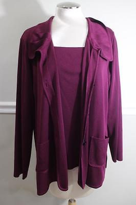 Exclusively Misook Women's Plum Purple 2 PC jacket top set Size 2X (mi100