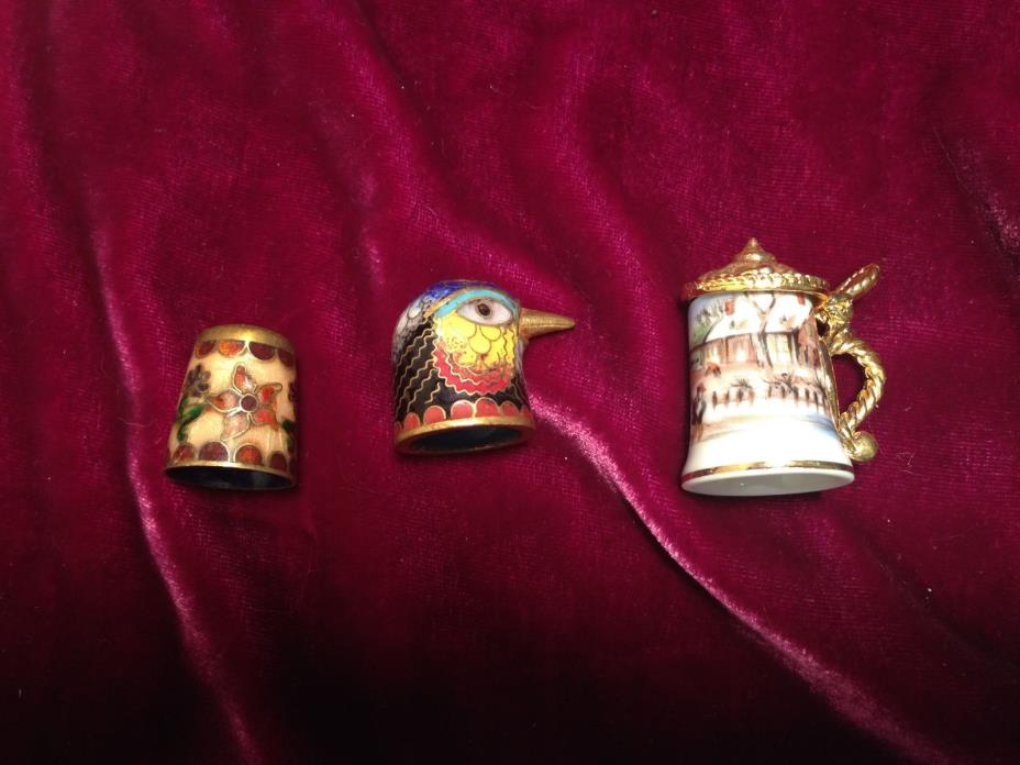 Cloisonne Enamel and Porcelain Thimbles -  Set of 3