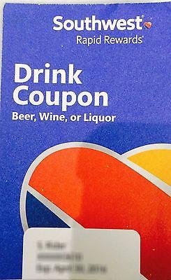 4 SOUTHWEST DRINK COUPONS VOUCHER EXP 10/31/17