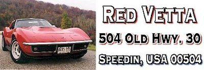 CORVETTE 1969 RED  Self-Adhesive Address Labels #0504