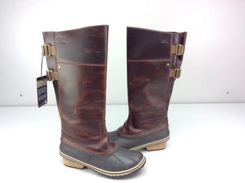 Sorel Slimpack II Riding Tall Waterproof Duck Boots Umber Size US 10.5